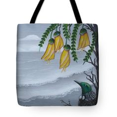 Kowhai And Tui Tote Bag by Astrid Rosemergy Wondering about kowhai flowers for felt bookmarks