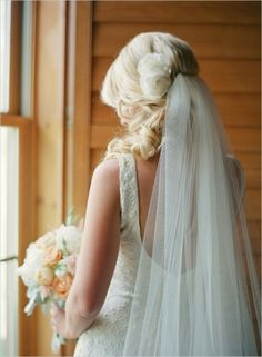 Beauty Inspiration: Gorgeous long veil and floral hairpiece | Elegantly Rustic Wedding at Devils Thumb Ranch on Wedding Chicks— Loverly Weddings