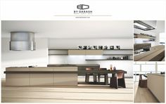 A tan minimalist modern kitchen with spacious open shelving. Soldy by @bydarash