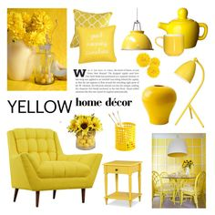 """""""Yellow home decor"""" by cly88 ❤ liked on Polyvore featuring interior, interiors, interior design, home, home decor, interior decorating, Dot & Bo, Threshold, Pier 1 Imports and Levtex"""