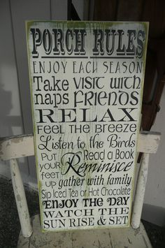 HAND PAINTED wood Sign Porch Rules Typography Subway by SiMpleGalz, $40.00