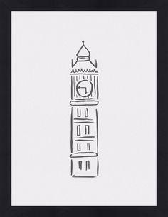Quadro Big Ben Minimalista por On The Wall #quadro #moldura #poster #canvas…