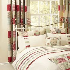 Curtains in a pretty patchwork design. Red curtains for the bedroom perfect to match the petticoat range. Bedroom curtains from UK sellers online. Bedroom Green, White Bedroom, Bedroom Colors, Bedroom Decor, Bedroom Curtains, Bedroom Carpet, Bedroom Ideas, Luxury Curtains, White Curtains