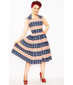 Pin up dress Navy style