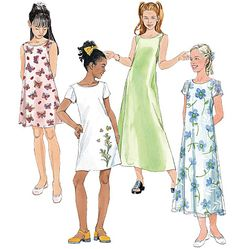 McCall's 6098 Girls' Dresses In 2 Lengths sewing pattern