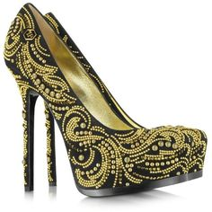 Philipp Plein High Heel Orient Platform Pump (1 110 BGN) ❤ liked on Polyvore featuring shoes, pumps, heels, saltos, zapatos, stiletto pumps, gold platform shoes, heels stilettos, platform stiletto pumps and gold pumps