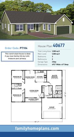 Ranch House Plan 40677 | Total Living Area: 1,380 SQ FT, 3 bedrooms and 2 bathrooms. This ranch style house is ideal if you love family life but still treasure your privacy. #ranchhome