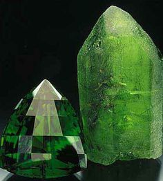 Peridot is one of the few gemstones which exist only in one color. Finest traces of iron account for the deep green color with a slight golden hue. Chemically Peridot is just an iron-magnesium-silicate, and the intensity of color depends on the amount of iron contained. The color as such can come in any variation from yellow-green and olive to brownish green. Peridot is not especially hard – it only achieves about 6.5 to 7 on the Mohs´ scale – and yet it is easy to care for and quite robust.