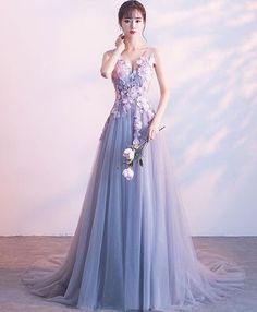 Gray lace tulle long prom dress, gray evening dress, Customized service and Rush order are available