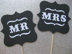 mr & mrs wedding signs photo booth