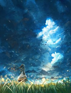 ✮ ANIME ART ✮ nature. . .painting. . .sky. . .cloud. . .field. . .girl. . .beautiful. . .kawaii