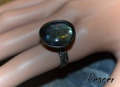 Gemstone handmade ring with Labradorite by PeagerFantasyWorld