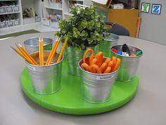 Simply Sweet Teaching blog's Classroom table supplies rotating utensil holder!!