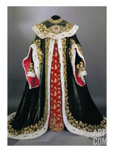 Official Robes of the Hungarian Order of St. Stephen, of Green and Red Ermine-Edged Velvet