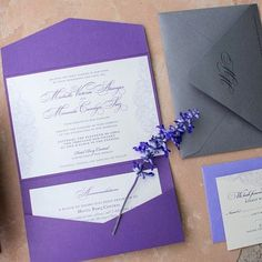 Purple lace wedding invitations for Miranda and Michelle married at @hotelparqcentral in Albuquerque New Mexico. Photo by @desireeandseth.