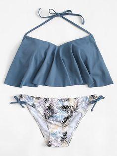 Plus Tie Side Flounce Bikini Set Bathing Suits For Teens, Summer Bathing Suits, Cute Bathing Suits, Cute Swimsuits, Women Swimsuits, Flounce Bikini, Kids Suits, Swimsuit Tops, Beachwear