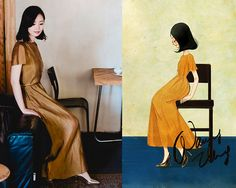 Nancy Zhang - Yohji Yamamoto Dres, Prada Heels - Woman in gold dress.
