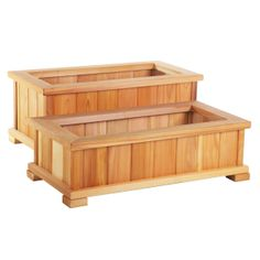 Wood Country Rectangle Cedar Wood Boise Patio Planter Boxes - Set of 2 - Planters at Hayneedle