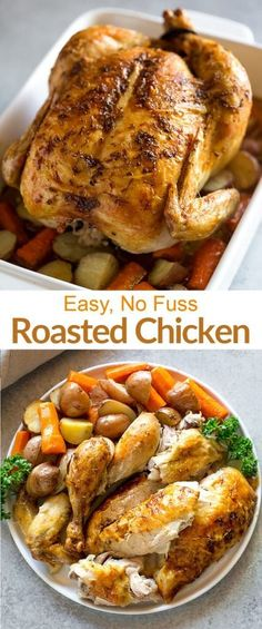 Easy, No-Fuss Roasted Chicken is a step-by-step guide for preparing, roasting, and carving a whole chicken. No brining or basting makes this recipe even faster and easier. via chicken recipes Easy, No Fuss Roasted Chicken Whole Chicken In Oven, Baked Whole Chicken Recipes, Whole Roasted Chicken, Easy Chicken Dinner Recipes, Roast Chicken Recipes, Stuffed Whole Chicken, Cooking Whole Chicken, Recipe For Roasted Chicken, Recipe To Cook A Whole Chicken