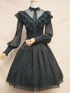 Lolita Wedding Dress Black OP Neverland Lolita One Piece Dress Gothic Lolita Fashion, Victorian Fashion, Lolita Goth, Gothic Lolita Dress, Lolita Style, Victorian Gothic, Harajuku Fashion, Kawaii Fashion, Old Fashion Dresses