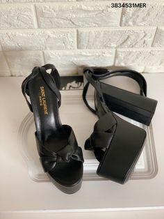 Ysl Saint Laurent platform heels black leather sandals Black Leather Sandals, Black Heels, Saint Laurent Shoes, Ysl, Platform, Formal, Style, Fashion, Preppy