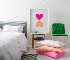 Fluro Pink Spot Pillowcase - contemporary - bed pillows and pillowcases - Castle and Things