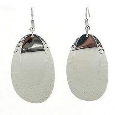 Large Silverplated Double Oval Earrings Handmade and Fair Trade. Women artisans in Mexico combine silverplated, polished and textured ovals into stunning earrings. These slightly curved earrings hang 2 inches from hypoallergenic hooks. Handmade Jewelry Designs, Handcrafted Jewelry, Earrings Handmade, Handmade Ideas, Unique Earrings, Abalone Jewelry, Silver Jewelry, Silver Ring, Gold Jewellery