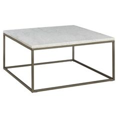 Casana Alana Square Coffee Table with White Marble Top | Hayneedle