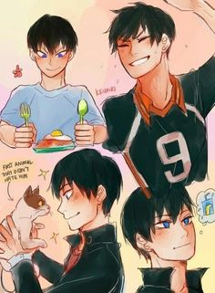 haikyuu, cute, and anime image Kageyama Tobio, Kagehina, Daisuga, Kuroken, Hinata, Anime Meme, Anime Guys, Manga Anime, Yandere Manga