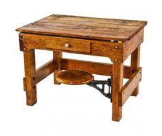 Vintage Oak Wood Chemistry Lab School Table Kitchen