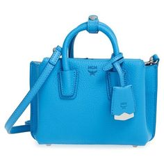 MCM 'X Mini Milla' Leather Tote (34.720 RUB) ❤ liked on Polyvore featuring bags, handbags, tote bags, tile blue, blue tote bag, leather handbag tote, handbags totes, leather tote purse and zip top tote