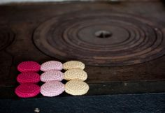 Crocheted cotton and wood trivet hot pad in by sofiasobeide, €27.00