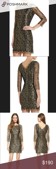 Diane Von Furstenberg Zarita 3/4 sleeve metallic Never been worn!! Purchased from Saks - would like to find this guy a new home. It's so pretty!  Just won't ever wear it. Sleeves are 3/4 and hits mid thigh. Diane Von Furstenberg Dresses Mini