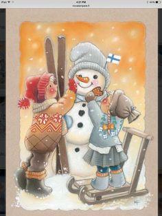 Kaarina Toivanen ~ We Will Build a Snowman Christmas Clipart, Christmas Snowman, Winter Christmas, Vintage Christmas, Christmas Ornaments, Illustration Noel, Christmas Illustration, Frosty The Snowmen, Cute Snowman