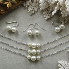 SET of 5 Simple chic pearl necklace and earring SET, bridesmaids necklace, wedding jewelry - W006S (Choose your pearl colour) on Etsy, $77.50