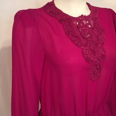Vintage 80s Magenta Sheer Crepe Long Sleeve Lace Dress Vintage Size 8 Made in USA Medium M by CarolinaThriftChick on Etsy
