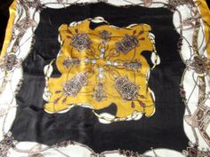 Your place to buy and sell all things handmade Vintage Scarf, Equestrian, Mustard, Scarves, Chiffon, Silk, Retro, Black, Tops