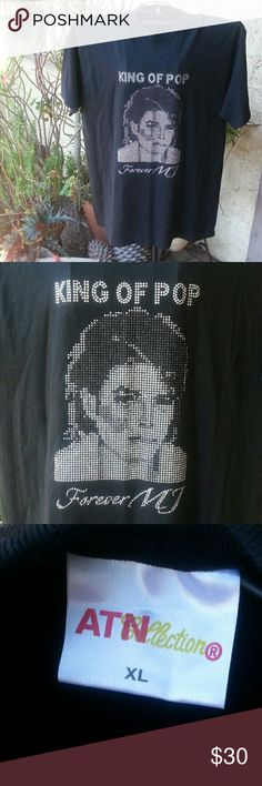 Michael Jackson T shirt. King of Pop. Forever MJ.  This shirt is Awesome !!!  Perfect for the MJ lover.  Never been worn.  Silver & black studs/rhinestones. ATN collection Tops Tees - Short Sleeve
