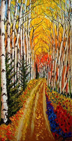 Aspen Road To Autumn by dunbarsfineart on Etsy