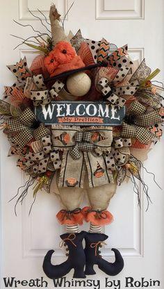 XL Halloween Deco Mesh Burlap Witch Wreath, Fall Wreath, Front Door Wreath, Rustic Halloween Witch, Primitive Witch, Halloween Decor by WreathWhimsybyRobin on Etsy