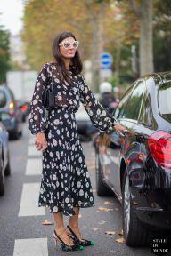 Giovanna Battaglia of Vogue Japan after Rochas fashion show. STYLE DU MONDE on Instagram @styledumonde, Pinterest, Twitter, Tumblr and Facebook
