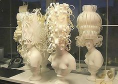 A paper artist & teacher, Jeffery Rudell was invited to do a window display on 5th Ave in New York for Tiffany & Co. He visioned elaborate wigs of Mid-18th Century France as his focal point~