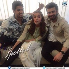 Spotted! -#FawadKhan #AliaBhatt and #SiddharthMalhotra during the promotions of their upcoming movie, #KapoorAndSons #Bollywood