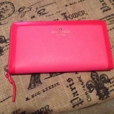Kate Spade Pink Wallet This beautiful wallet is new so pretty pink with a darker pink border :) kate spade Bags Wallets