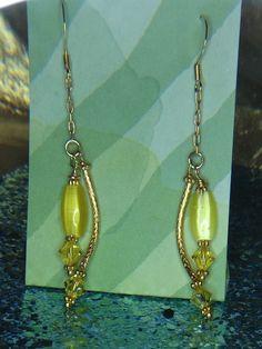 14k Gold filled yellow Swarovski Crystal Dangles.