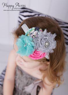 Pink Grey Turquoise Chiffon and Rosette headband, newborn headband, baby headband, photography prop