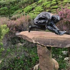 Crouched male figure.........#dylanlewissculpturegarden Sculpture Garden, Male Figure