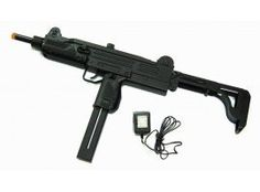 250 fps Auto Electric Airsoft UZI Machine Gun by Well. $21.01. Brand New Full Auto Airsoft  Rifle with Foldable Stock!    Air Soft Rifle Details:   Mode: Full Auto  Heavy duty construction D91 Model  Ammo bulk loads from top (middle site   slides back and forth)  Stock folds in and out to make for   two nice size guns (see pictures)  Length: 25 (stock extended) and 19 Inches   (stock folded in)  Removable Clip That is the   rechargeable battery pack  Charger is inc...