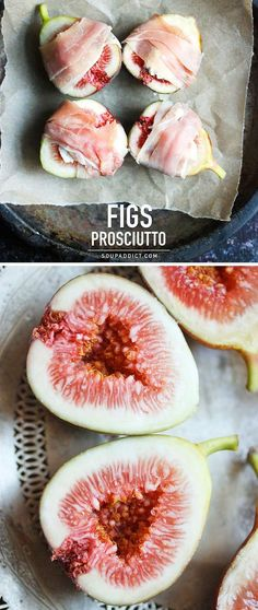 Figs Prosciutto - a decadent but oh-so-simple appetizer: fresh figs, stuffed with goat cheese, wrapped in prosciutto and baked until amazing. Recipe at SoupAddict.com | appetizers | desserts | snacks