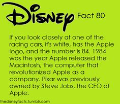 The Disney Facts Cars Number 84 is white with Apple logo signifying the year Apple was founded. Pixar was previously owned by Steve Jobs. Disney And More, Disney Love, Disney Magic, Disneyland Secrets, Disney Secrets, Disney Tips, Disney And Dreamworks, Disney Pixar, Disney Fun Facts